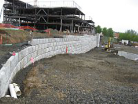 during construction retaining wall