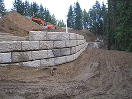 retaining wall during construction