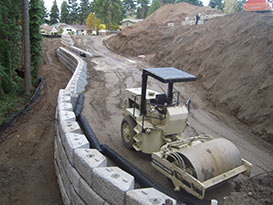 retaining wall end of construction